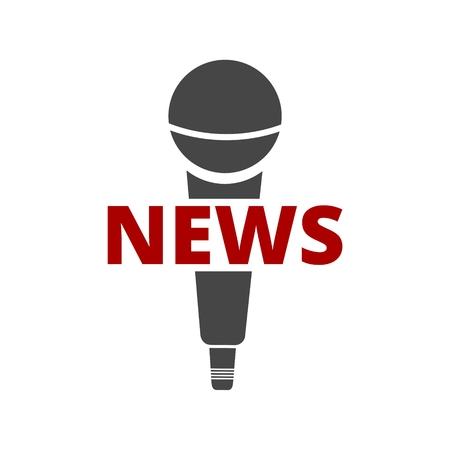 Icona del microfono di notizie, icona del microfono di notizie di vettore Vettoriali