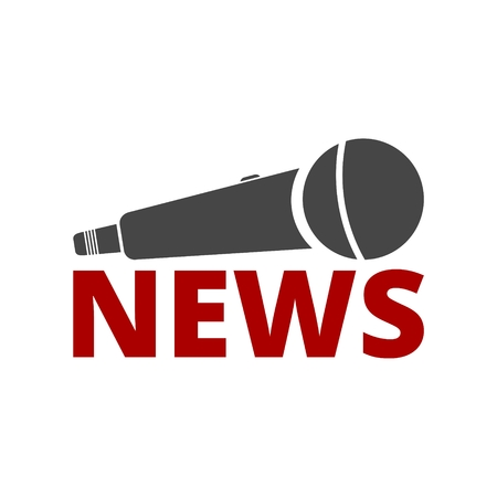 Icona del microfono di notizie, icona del microfono di notizie di vettore