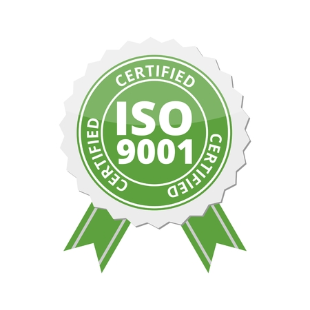ISO 9001 certified sign icon Illustration