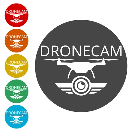 Quadcopter and flying drone icon