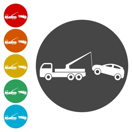 Tow truck with car on it, flat style illustration, Car tow service Vettoriali