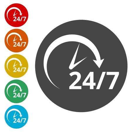 Twenty four hours open, Vector open hours icon