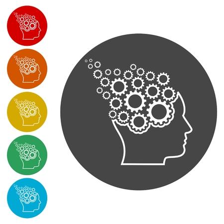 Head with gears concept, Vector gears in head Ilustração