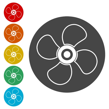 Vector fan icon, Air conditioning button