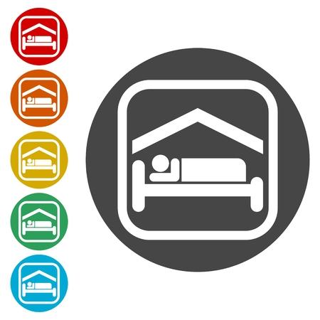Bed Icon, Hotel icon Illustration