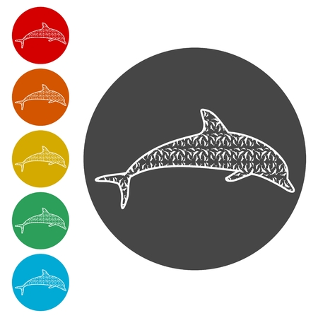 Dolphin fish animal silhouette, Silhouette dolphin Illustration