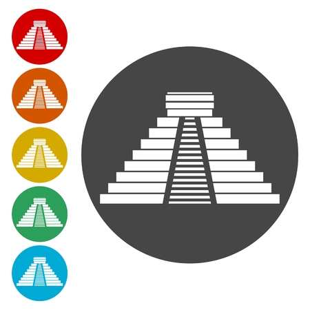 El Castillo pyramid in Chichen Itza flat icon