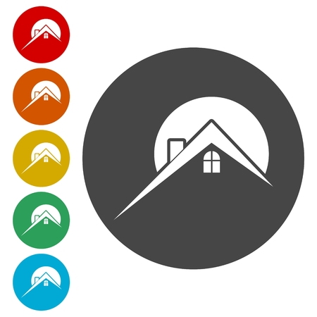 Home roof icon, Real estate symbol Stock Illustratie