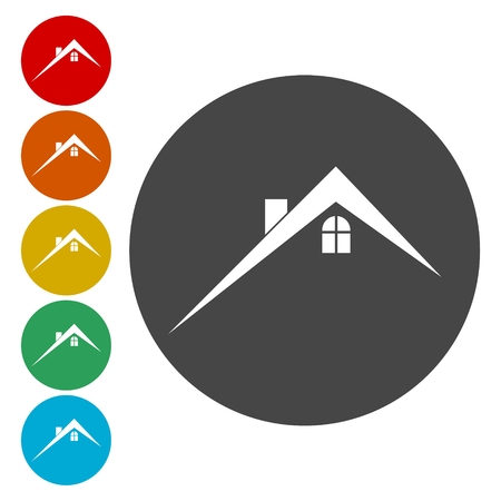 Home roof icon, Real estate symbol Illustration