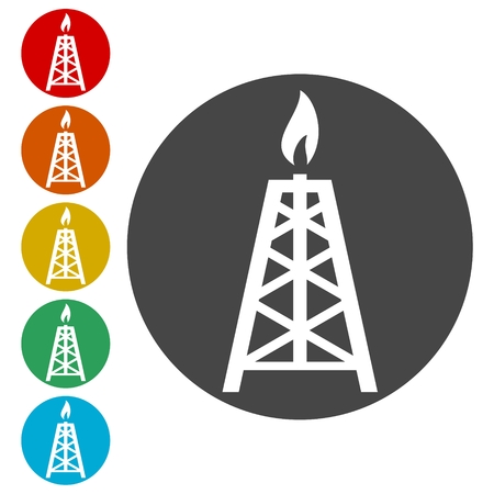 Oil rig, Oil Gusher icon Vetores
