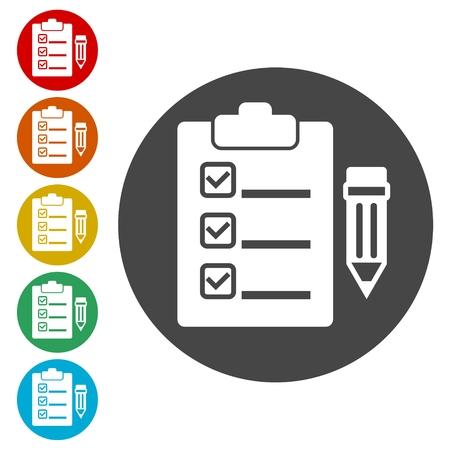 Clipboard and pencil icon Illustration
