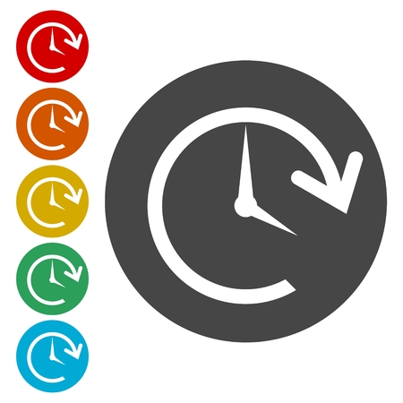 Time back icon, History icon Vectores