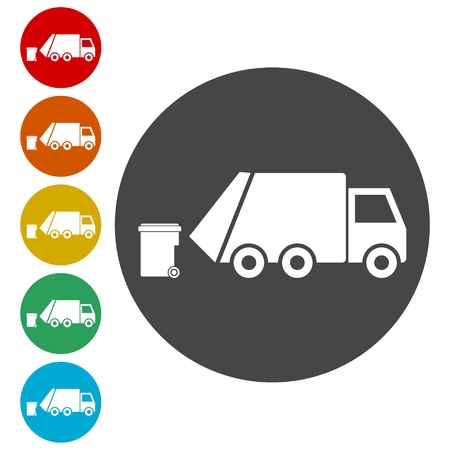 Recycle truck icon, Garbage Truck Vectores