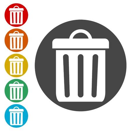 Trash bin or trash can symbol icon