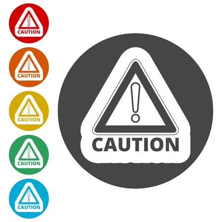 Attention caution sign set