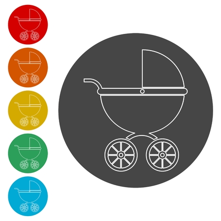 Baby Stroller icon (Silhouette) Illustration