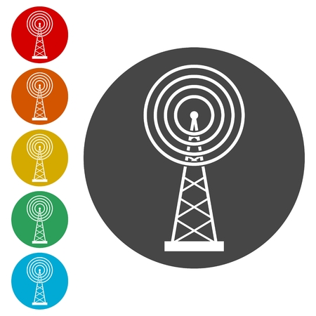 Transmitter simple icon, Transmitter tower icon 向量圖像