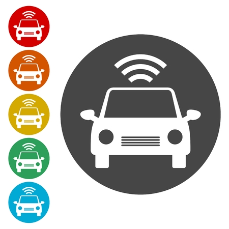 The Connected Car. Smart car icon with wireless connectivity symbol Illustration