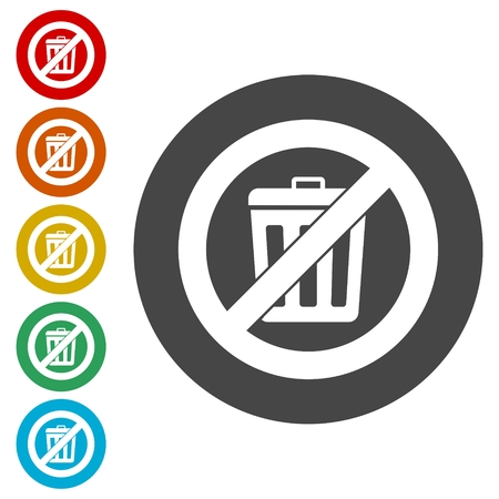 Don`t throw trash, Recycle bin sign icon Çizim