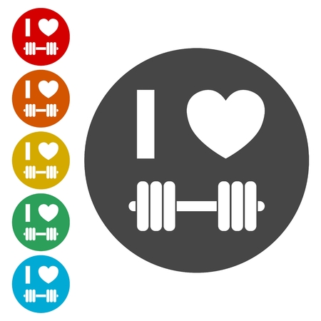 Gym dumbbell flat design, Cross fit icon