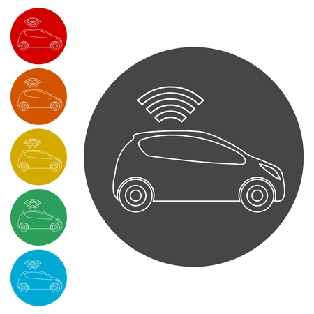 The Connected Car. Smart car icon with wireless connectivity symbol Banco de Imagens - 112422685