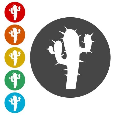 Cactus plant silhouette Illustration