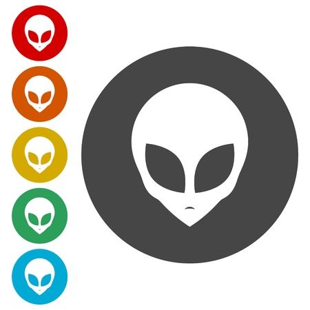 Icono de cabeza alienígena, cara alienígena extraterrestre