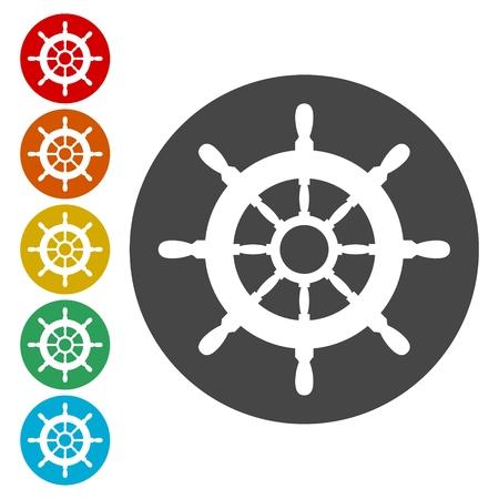 Steering wheel of the ship, Ship wheel Stock Vector - 113023136