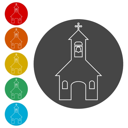 Church on white background - Illustration 일러스트