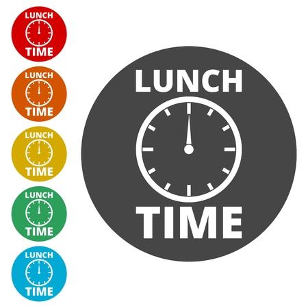 Ora di pranzo, icona dell'ora di pranzo piatta Vettoriali