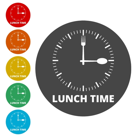 Time For Lunch, Flat Lunch Time icon Illustration