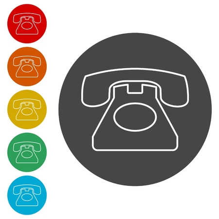 Old phone icon, Phone vector icon, Old vintage telephone symbol 向量圖像