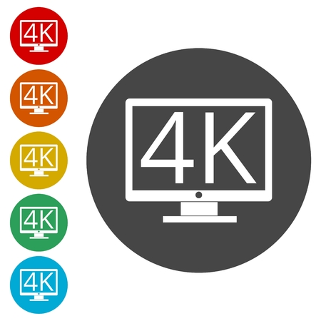 4K tv icon, Ultra HD 4K icon Vektoros illusztráció