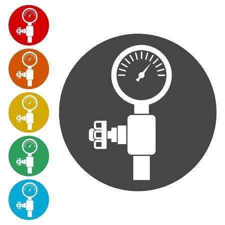 Pressure gauge, Manometer icon, Pressure meter icon Illustration