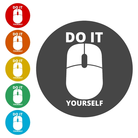 Computer mouse with the text DIY, Do it yourself icon Illustration