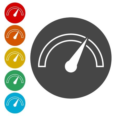 Vector performance measurement icon, speedometer icon