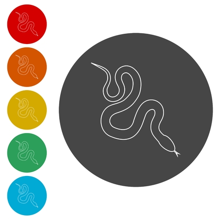 Reptile snake flat icon for animal apps Illustration
