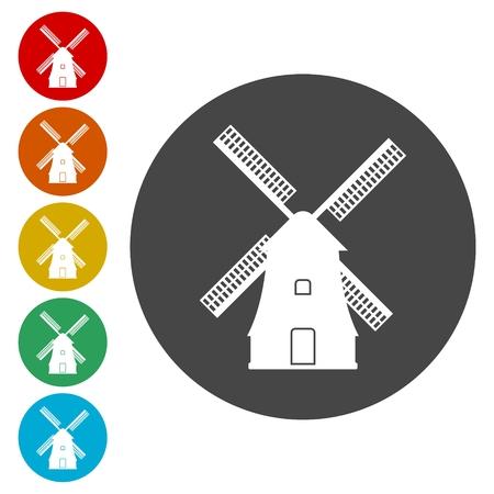 Windmill icon, Vector black silhouette  イラスト・ベクター素材