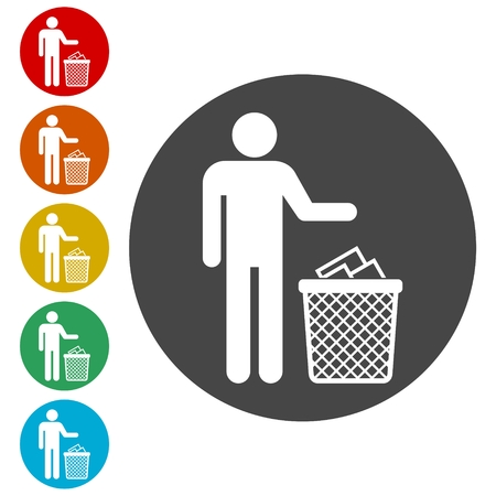 Human silhouette throwing garbage into a trash can