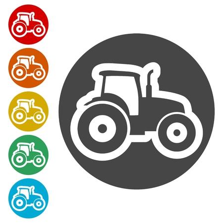 Tractor Icons set 矢量图像