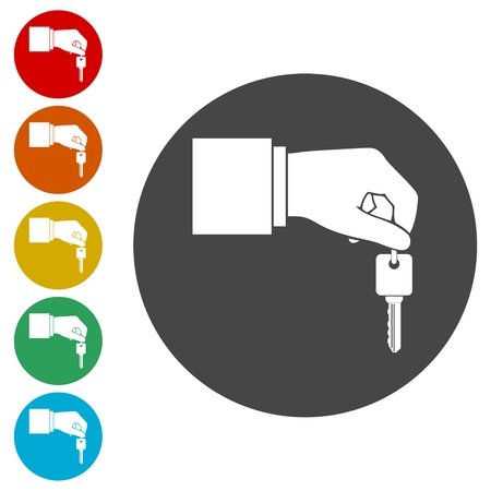 Hand giving car keys, Car Sharing icon