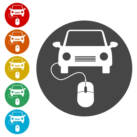 Computer mouse and car icon