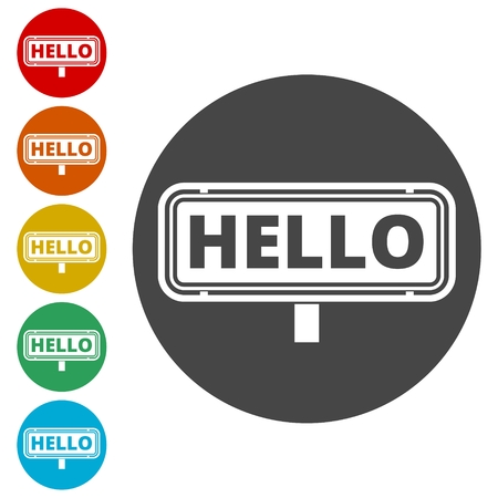 Hello sign. Vector stock.