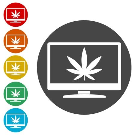 Marijuana leaf icon, Monitor icon