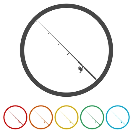 Fishing rod icon, 6 Colors Included