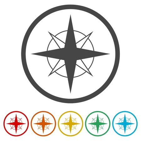Vector north direction compass icon, 6 Colors Included  イラスト・ベクター素材