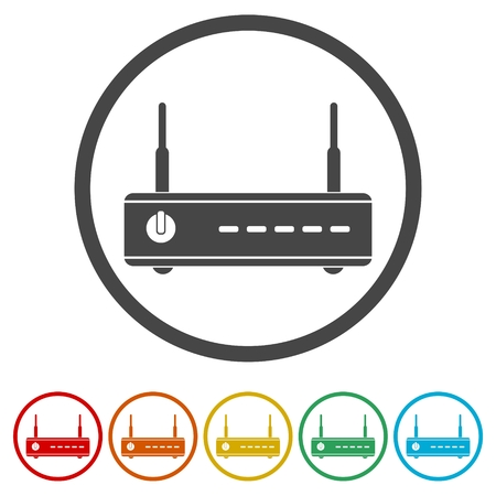 Wireless router icon wifi router, 6 Colors Included Illustration