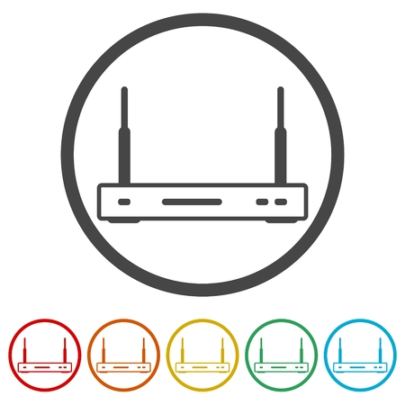 Wireless router icon wifi router, 6 Colors Included 向量圖像