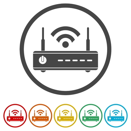 Wireless router icon, wifi router, 6 Colors Included