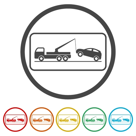 Tow truck with car on it, flat style illustration, Car tow service, 6 Colors Included Vecteurs
